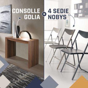 Consolle Allungabile Golia + Sedie Pieghevoli Nobys – PROMO