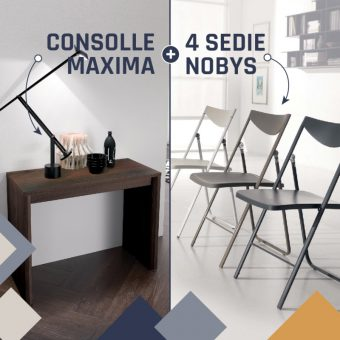 Consolle Allungabile Maxima + Sedie Pieghevoli Nobys – PROMO