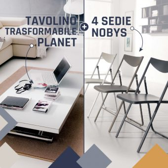 Tavolino Trasformabile Planet + Sedie Pieghevoli Nobys – PROMO